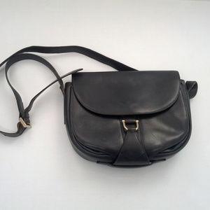 Vintage small blue leather long strap purse bag